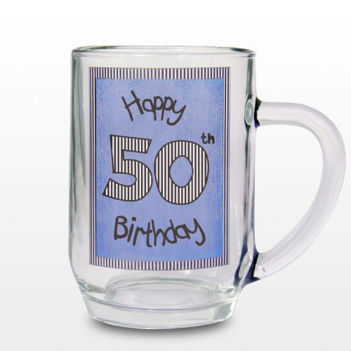 Blue 50th Happy Birthday Tankard Gift Keepsake